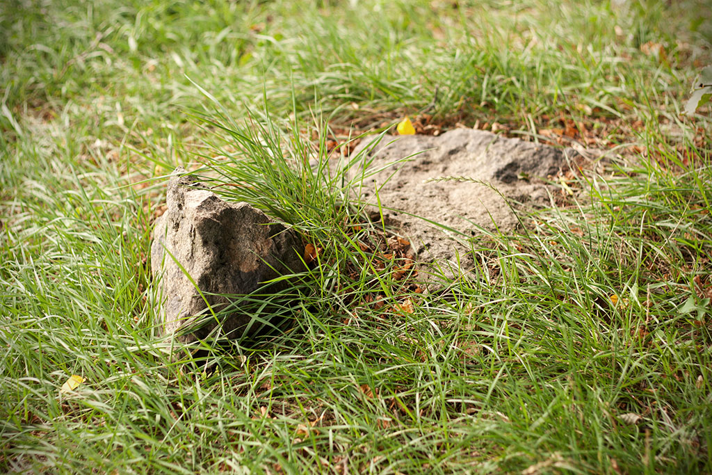 Der dritte Stein ist kaum zu erkennen, so tief steckt er im Boden.